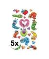 5x rupsen 3d stickers op vel