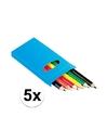 5x setje potloden 6 stuks gekleurd