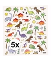 5x stickervel dinosaurussen metallic