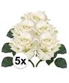 5x witte roos deluxe kunstbloemen 31 cm