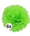 6 lime groene decoratie pompoms 35 cm