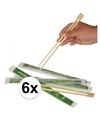 6 paar eetstokjes van bamboe hout 2 stuks