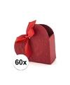 60x bruiloft kado doosjes rood hart