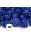 60x kobalt blauwe knutsel pompons 20 mm
