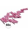 60x mini knijpertjes roze