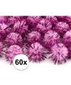 60x roze knutsel pompons 20 mm