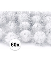 60x witte knutsel pompons 20 mm