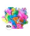 62 gekleurde decoratie veren zachte kleuren