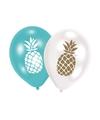 6x ananas print ballonnen 27 cm
