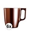 6x bruine koffie bekers mokken 250 ml