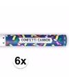 6x confetti kanon metallic kleuren mix 40 cm