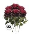 6x donker rode rozen simone kunstbloemen 45 cm