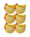6x eierdop kip geel 8 cm
