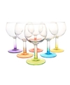 6x gekleurde wijn glazen 190 ml