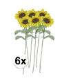 6x gele zonnebloem kunstbloemen 38 cm