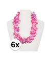 6x hawaii kransen roze paars