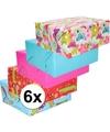 6x inpakpapier pakket voor kinder cadeautjes