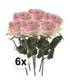 6x licht roze rozen simone kunstbloemen 45 cm