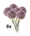 6x lila sierui kunstbloemen 70 cm