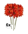 6x oranje gerbera kunstbloemen 47 cm