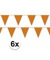 6x oranje vlaggenlijn slinger 10 meter