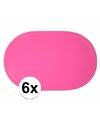 6x ovale placemats fuchsia roze 43 x 28 cm