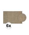 6x placemat gevlochten gekleurd 45 x 30 cm