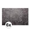 6x placemat marmer zwart 46 x 30 5 x 0 2 cm