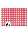 6x placemat rood wit geblokt 43 x 30 cm