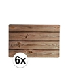 6x placemats houten planken design