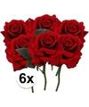 6x rode rozen deluxe kunstbloemen 31 cm