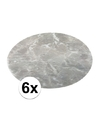 6x ronde placemat marmer grijs 38 cm