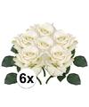 6x witte roos deluxe kunstbloemen 31 cm