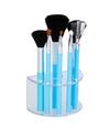 7 blauwe make up schmink kwastjes in houder
