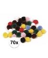 70x knutsel pompons 25 mm gekleurd