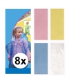 8 x regen poncho voor kinderen roze