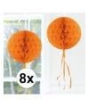 8x decoratie bol oranje 30 cm