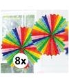 8x decoratie waaier regenboog kleuren 45 cm