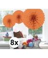 8x decoratie waaier zalm roze 45 cm