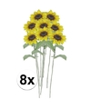 8x gele zonnebloem kunstbloemen 38 cm