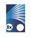 8x luxe schrift a5 formaat blauwe harde kaft