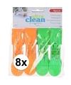8x oranje en groene handdoek knijpers 13cm