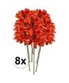 8x oranje gerbera kunstbloemen 47 cm