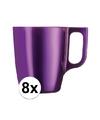 8x paarse koffie bekers mokken 250 ml