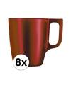 8x rode koffie bekers mokken 250 ml