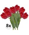 8x rode tulp kunstbloemen 48 cm