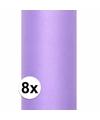 8x rollen tule stof paars 0 15 x 9 meter