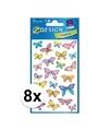 8x vlinder stickers 3 vellen