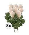 8x witte roos kunstbloemen 35 cm