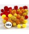 96x knutsel pompons 15 20 mm kleuren